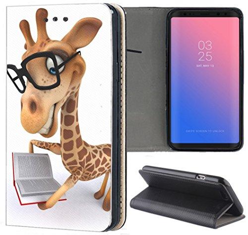 Samsung Galaxy A6 2018 Hülle Premium Smart Einseitig Flipcover Hülle Samsung A6 2018 Flip Case Handyhülle Galaxy A6 2018 Motiv (1489 Giraffe Animiert mit Brille und Buch)