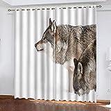 QCTTBD Cortina De Dormitorio - Impresión Lobo Animal De La Nieve 3D - 234X 138 Cm - Cortina Termicas Aislantes Blackout...