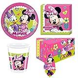 Set 53 pz -Kit Coordinato tavola Minnie Mouse con Topolina e PAPERINA con Fiocco Rosa Fuxia a Pois Bianco - Decoro Buffet Feste, Party Bambini - 16 Piatti + 16 Bicchieri + 20 tovaglioli + 1 Tovaglia