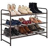 Zapatero con 3 niveles, zapatero apilable y ajustable, estante organizador de zapatos, estantes de rejilla, marco de metal, ahorra espacio, fácil de montar (bronce)