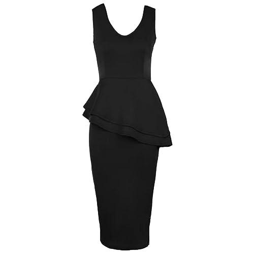Ladies Sleeveless Y Neck Low Front Low Back Bodycon Peplum Womens Dress 8-16