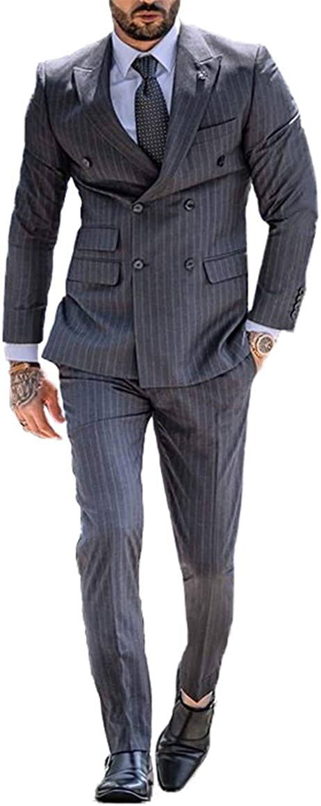 Michealboy Men's Pinstripe Grey Suit Double Breasted 2 Pieces Business Formal Suit