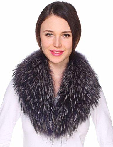 Ferand - Bufanda Chal Cuello de Piel de Mapache Auténtico DesmontableTeñido para Abrigo Chaqueta Chaleco Parka de Mujer Morado