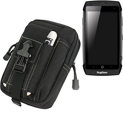 K-S-Trade® Gürtel Tasche Für Ruggear RG730 Gürteltasche Schutzhülle Handy Hülle Smartphone Outdoor Handyhülle Schwarz Zusatzfächer