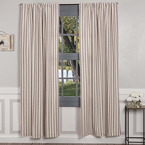 """Piper Classics Market Place Gray Ticking Stripe Panel Curtains, Set of 2, 84"""" L x 40"""", Farmhouse & Country Style Gray & Cream Window Drapes"""