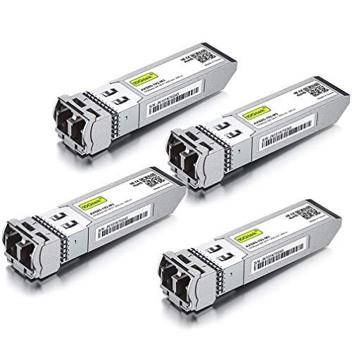 [4 Stück] 10G SFP+ SR Multimode Modul - 10GBase-SR LC Transceiver Kompatibel für Cisco SFP-10G-SR, Meraki MA-SFP-10GB-SR, Mikrotik S+85DLC03D, Ubiquiti, Netgear, Zyxel, Qnap, D-Link, Open Switch