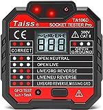 Taiss Tester di prese con indicatore di tensione RCD Socket display LCD 48-250 V, presa a ...
