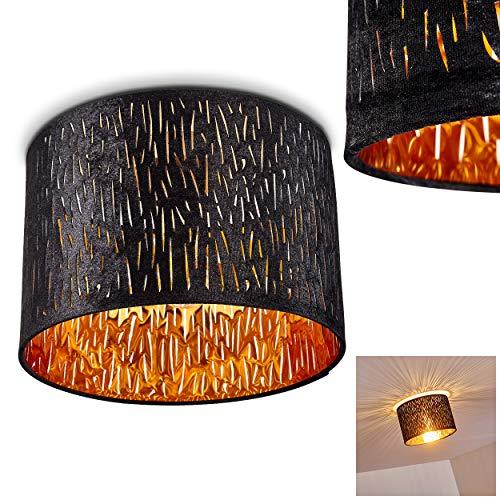 Deckenleuchte Liared, runde Deckenlampe mit Lampenschirm aus Samt in Schwarz/Gold, Ø 30 cm, 1-flammig, 1 x E27-Fassung max. 40 Watt, Retro/Vintage Design m. Lichteffekt, LED geeignet