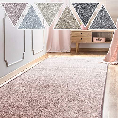 casa pura Teppich Läufer Sundae | Meterware | Teppichläufer für Wohnzimmer, Flur, Küche usw. | kuschlig weich | mit Stufenmatten kombinierbar (Rosé - 66x200 cm)
