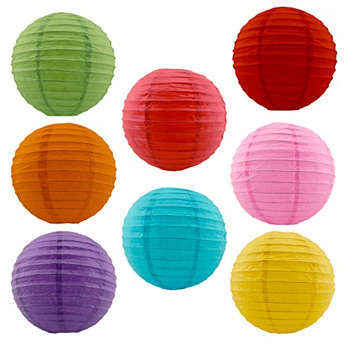 "Charmed 12"" Assorted Mix Color Paper Lanterns with Metal Frame (8 pk)"