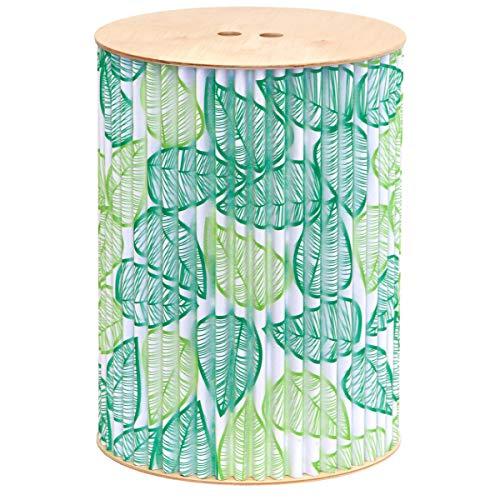 cArtù Hocker— Grüne Blätter: Dieser umweltfreundliche Aufbewahrungshocker ist in 2 Farben erhältlich und passt zu jedem Dekor. Die Rumpf besteht aus cArtù mit Sitz und Basis aus Birke. D.33 x H.44.7cm