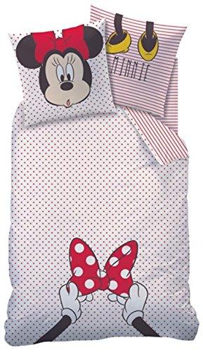 CTI Bettwäsche Minnie Mouse weiß rot 135 x 200 cm, 80 x 80 cm