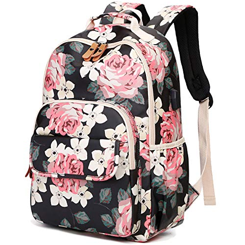 CAMTOP Backpack for School Girls Bookbag Laptop Backpack Teens Middle School Bag Causal Travel Daypack (Black Flower/USB)