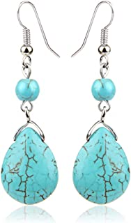 Prime Sale Day Deals Sale Offers 2019-ValentoriaSimple Elegant Silver Plated Fishhook Small Bead Teardrop Rimous Turquoise Dangle Drop Earrings Gift for Women Girls (Blue)