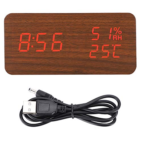 Pssopp Reloj Despertador LED Reloj de Escritorio de Madera Digital Control de Voz Reloj Rectangular de Madera marrón Temp Humedad Alarma Luz roja