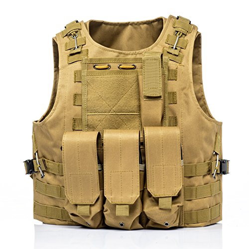Invenko Tactical Molle Airsoft Vest Paintball Combat Soft Vest Tan