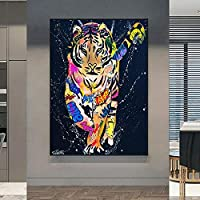 カラフルな虎の動物キャンバス絵画グラフィティアートポスターとプリント壁アート写真リビングルームモダンな家の装飾60x70cmフレームレス