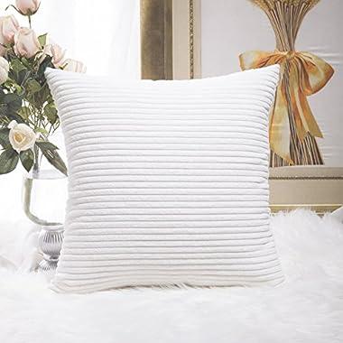HOME BRILLIANT Super Soft Striped Corduroy Decorative Euro Throw Pillow Sham Cushion Cover for Baby, 26x26 inch(66cm), Creamy White