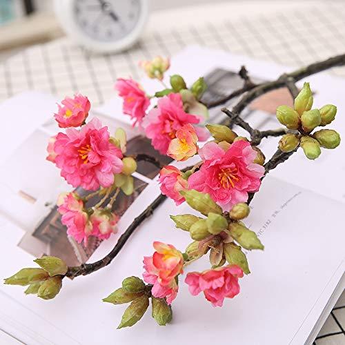 MEITAO Kunstmatige bloemen takken van kleine kersen 4-vork Cherry hoofdband hoge simulatie huwelijk Ve bloemen met ingrot bloemen simulator Roos Rood