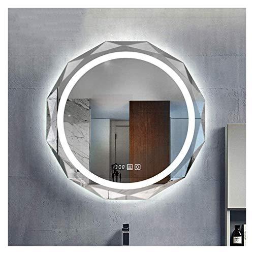 Espejo de luz LED inteligente, redondo, sin marco, montaje en pared, para hotel, baño, sala de estar, decoración de pared (color: A, tamaño: 70 cm)