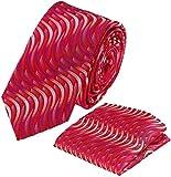 Louis Binder de Luxe Krawatte mit Einstecktuch 2er Set Schlips Tie Necktie 118 rot rottöne