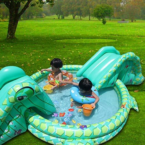 Multifunctioneel opblaasbaar kinderzwembad met dubbele glijbaan in krokodilvorm Krokodil Game Pool voor kinderen