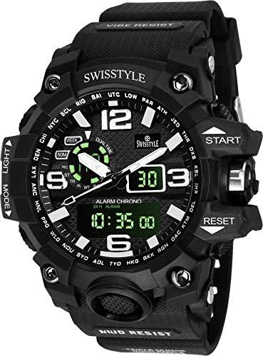 SWISSTYLE Analogue-Digital Men's Watch (Black Dial Black Colored Strap)