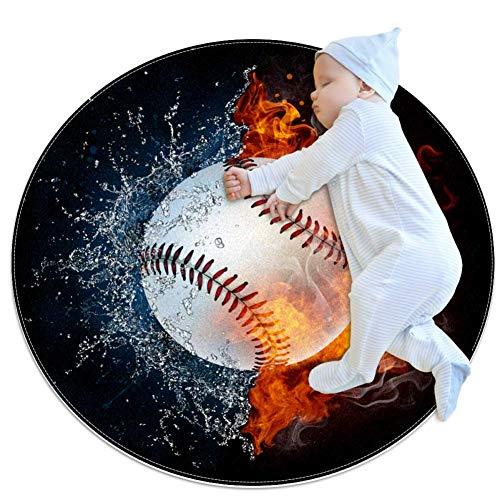HDFGD honkbal bal in vuur en water tapijt baby vloer speelmatten kruipen mat spel deken voor kinderen kamer decoratie, 27.6x27.6IN