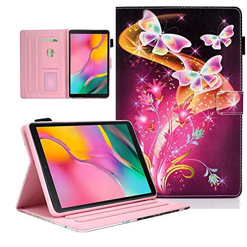 KEROM - Funda para Samsung Galaxy Tab A 10.1 2019 (SM-T510/T515), diseño de mariposas, color rosa
