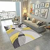 Alfombra moderna para sala de estar, suave al tacto, grande, alfombra de dormitorio, alfombra de moda, negro, gris, amarillo, 100 x 160 cm