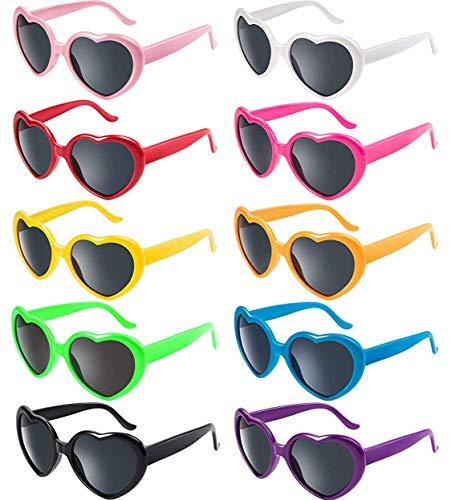 FSMILING 10 Stück neon party brille herz sonnenbrille effekt,lustige sonnenbrillen set bunt,retro sonnenbrille herzform für Damen