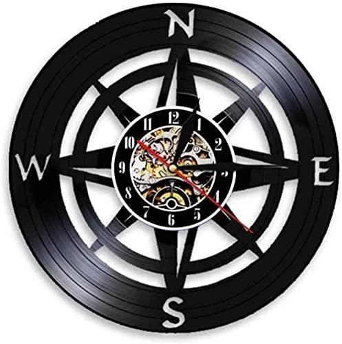 zgfeng Kompass Wandkunst modernes Design Marine Wanduhr Home Decoration Vinyl Schallplatte nautische Wanduhr Kompass Wanduhr-Mit LED