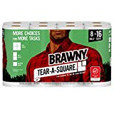 Brawny Tear-A-Square Paper Towels, 8 Rolls, 8 = 16 Regualr Rolls, 3 Sheet Size Options, Quarter Size Sheets