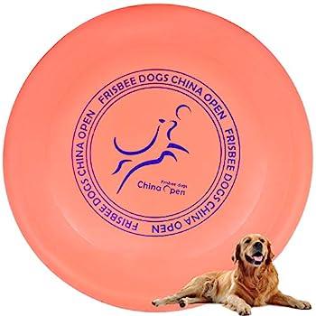 Demason Frisbee Jouet pour Chiens, 23 cm / 9 inch Disque à Lancer en Caoutchouc Résistant, Dressage de Chiens pour Extérieur (Orange)