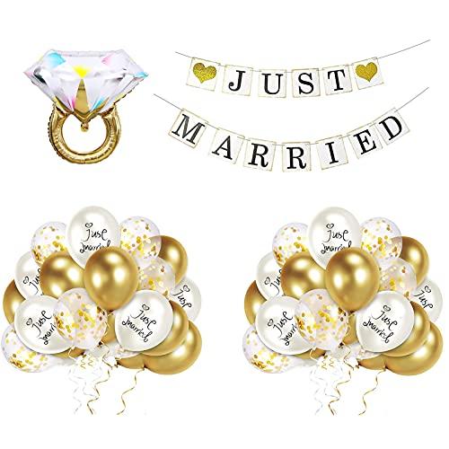 HONGECB Juego de decoración de boda, Boda Globo, Just Married Banderín, Látex...