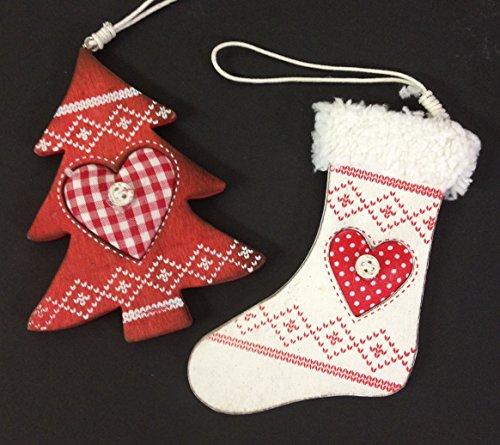 Set de 2Nordic Árbol de árbol de Navidad adornos–Calcetín de blanco y rojo de madera