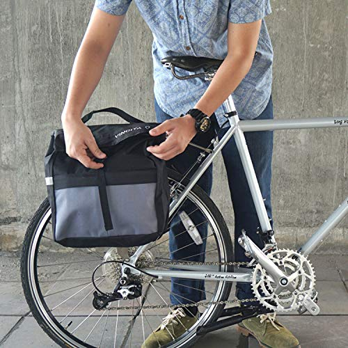 Vincita Top Load Double Pannier Water Resistant Cycling Side Bags - with Rain Cover, Large, Carrying Handle, Reflective Spots - Bike Rack Carrier Saddle Bag - Bicycle Accessories (Black/Turquoise)
