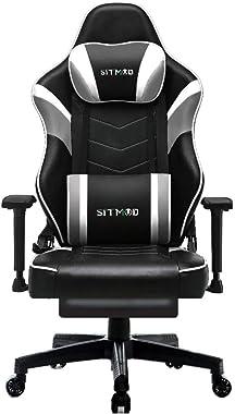 SITMOD Chaise Gaming Fauteuil Gamer Ergonomique Cuir PU Chaise Racing de Jeu avec Repose-Pied Chaises Gaming de Bureau avec S