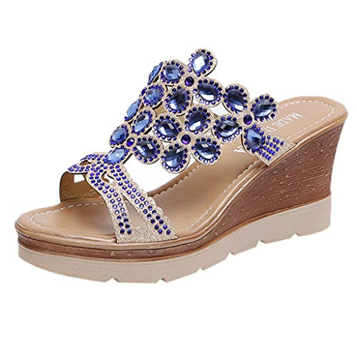 Womens Flicker Leisure Wedge Open Toe Summer Shoes Fashion Wedge Sandals Leisure, MmNote Blue