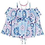 Amy Byer Girls' Off The Shoulder Bell Sleeve Top, Floral tie Dye, Large