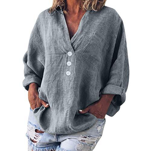 Chemisier Femmes FNKDOR Grande Taille Couleur Unie Coton et Lin Col en v à Manches Longues Pullover(V Gris,FR-42 / CN-XL)