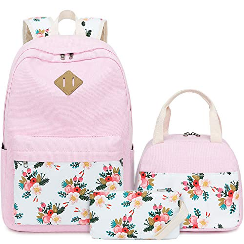 BLUBOON Teens Backpack Set Canvas Girls School Bags, Bookbags 3 in 1 (E0079-Pink)