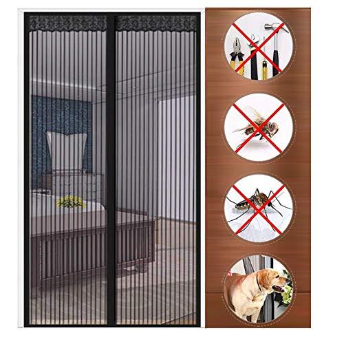 GUOGAI Mosquitera Puerta Magnetica 75x205cm(30x81inch) Mosquiteras Enrollables Pegado sin Taladrar Sin Huecos para Sala de Estar Balcón, Negro