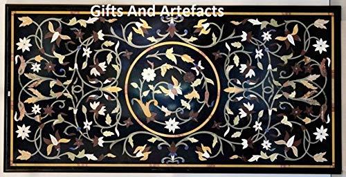 Geschenken En Artefacten Zwart Rechthoek Eettafel Top Inlay Art met Bladeren Patroon kan worden gebruikt in Drawing Room Cottage Handicrafts 30 x 60 Inches