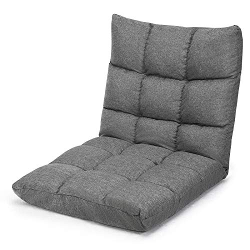 Giantex Adjustable Floor Gaming Sofa Chair 14-Position Cushioned Folding Lazy Recliner High Resilience Sponge, Breathable Cotton & Linen Fabric Sleeper Bed Couch Recliner with Removable Cover (Gray)