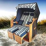 BRAST Strandkorb Deluxe 2-Sitzer XXL für 2 Personen 120cm breit mehrere Designs incl. Abdeckhaube Farbe Blau/Hellblau/Weiß gestreift Ostsee