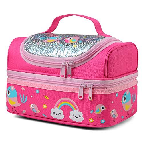 Borsa Termica Porta Pranzo per Bambini, ChaseChic Lunch Box per Bambini Borsa per Contenitori Pranzo Isolata Termica Leggera Resistente All'acqua Ragazze Organizer Scuola Picnic, Pink Bird