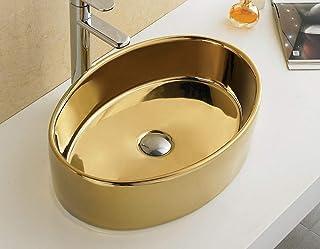 Bathroom Oval Ceramic Porcelain 7151G Polish Gold Vessel Sink Pop Up Drain + free Pop Up Drain