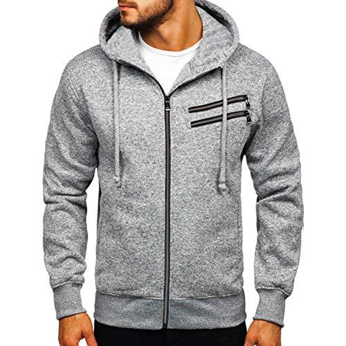 VANVENE - Sudadera con capucha para hombre, con cremallera completa, casual, de manga larga Gris gris claro XXXL