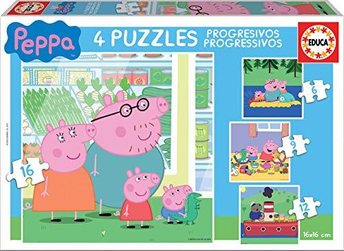 Educa Peppa Pig–Puzzles progressifs, 6–9–12–16pièces Borrás 15918